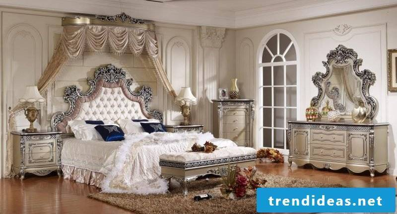 Baroque furniture Bedroom white silver