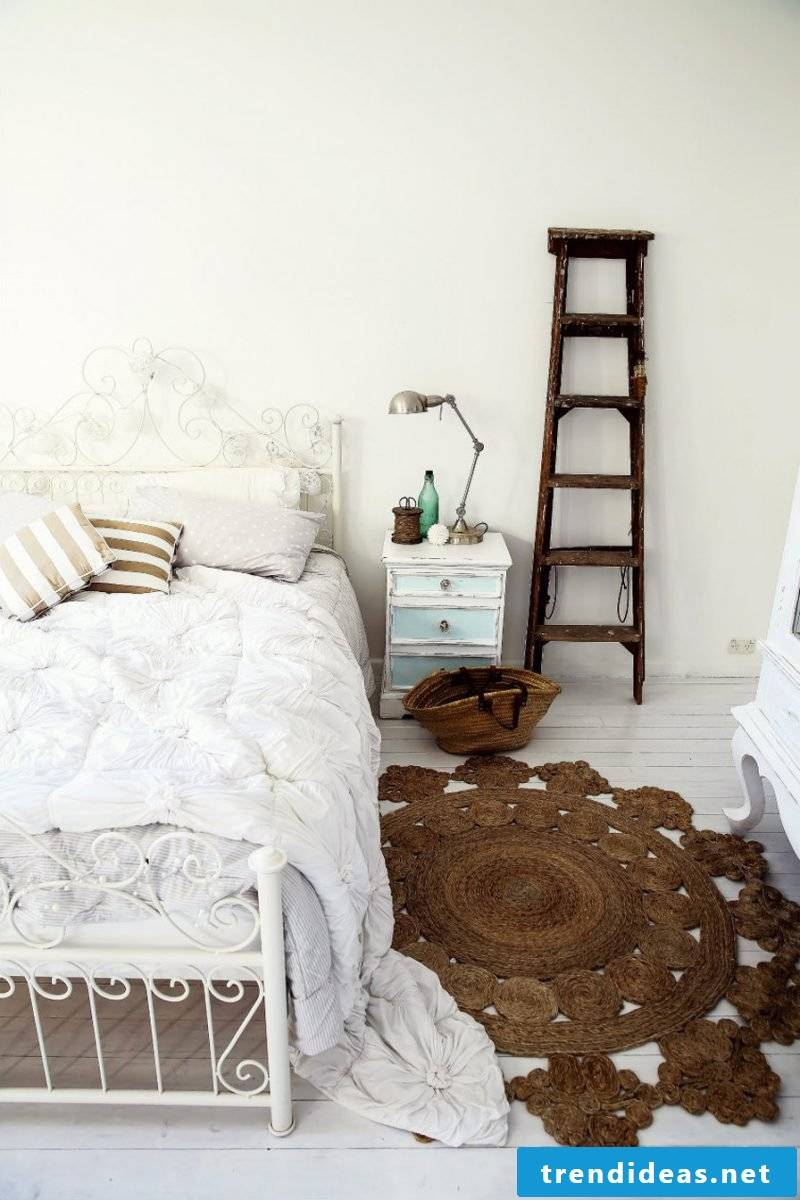 furniture country style white bed metal bedside wood bedroom furnishings