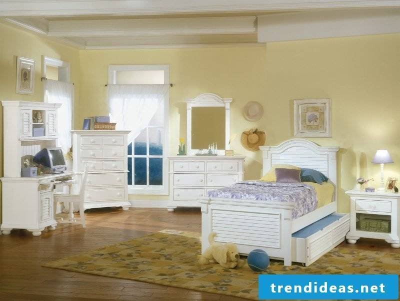 Furniture country style white wood bed bedside mirror chair shelf bedroom style