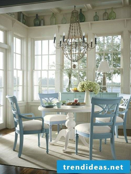 Lanfhausstil furniture white blue combination dining room decoration ideas dining table