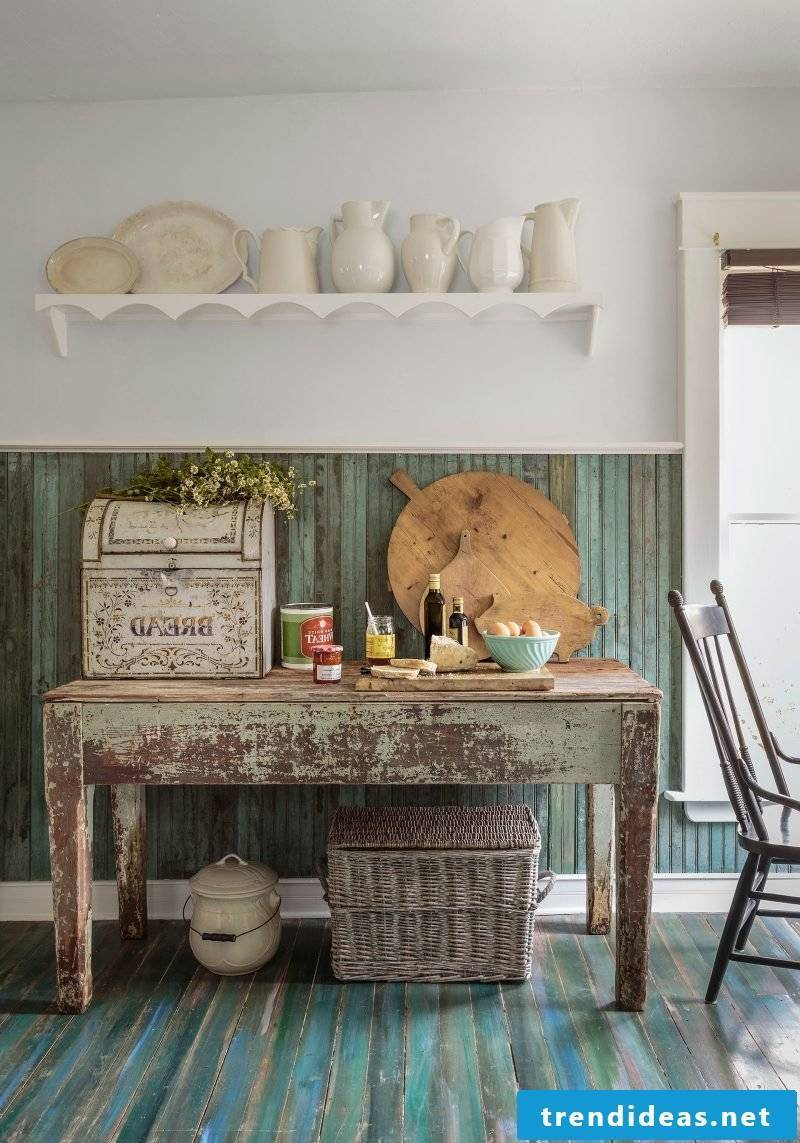 Country house furniture white brown rustic furniture country style table wood kitchen set up