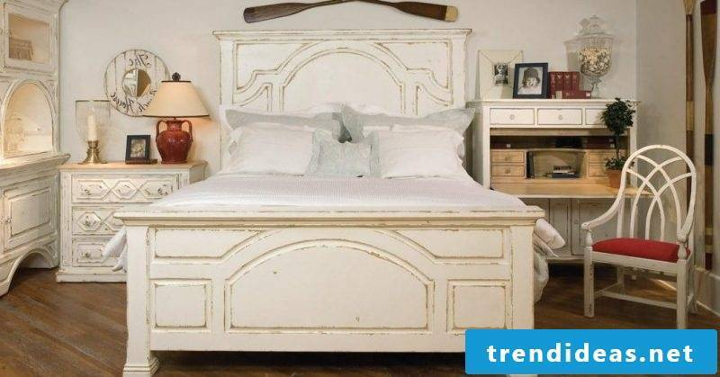 Wooden bed white furniture country style bedroom set up chair shelf pillow white