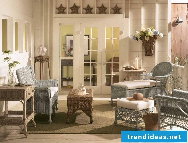 set up garden decoration rustic cottage furniture white gray combination wood rattan braid