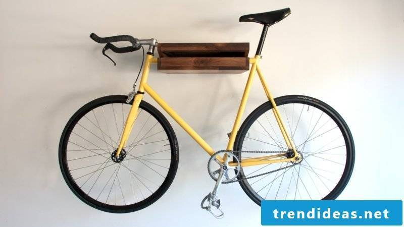 bicycle holder wall yellow bicycle