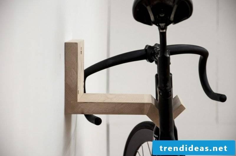 bike holder wall mount natural wood