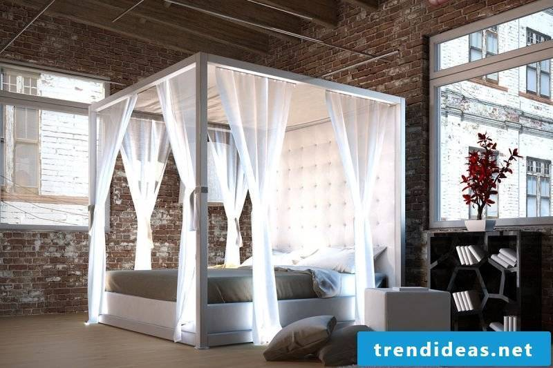 Four-poster curtain with LED lighting