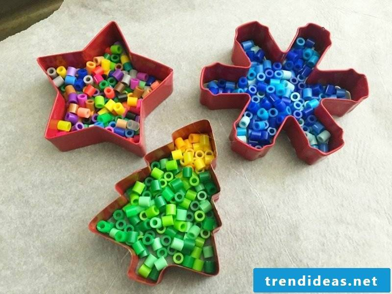 Iron-on beads templates Christmas DIY with cookie cutters