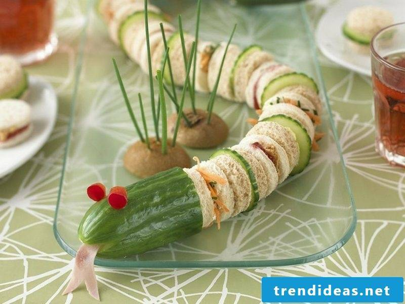 Food for kids birthday funny snake made from sandwiches