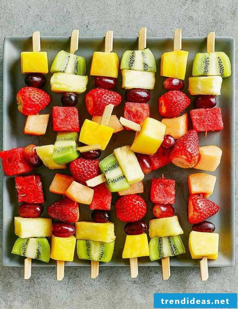 Snacks Kids birthday healthy fruit skewers