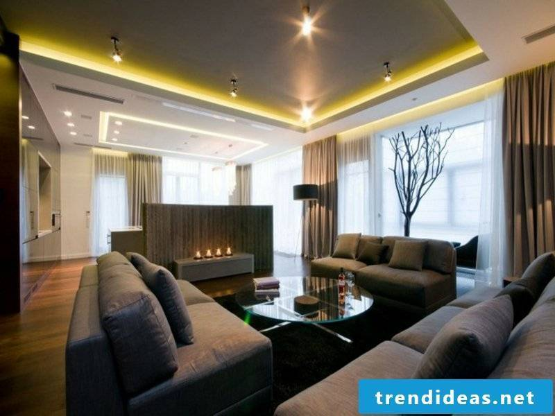 indirect and direct lighting in the living room