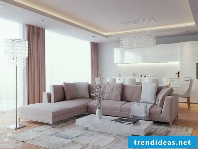 indirect lighting on a suspended ceiling in the living room furniture
