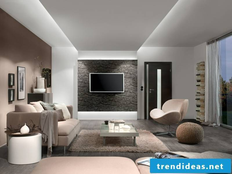 Indirect led lighting in dne living room furnishings