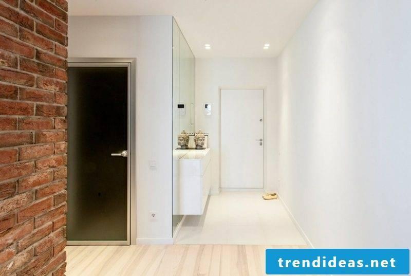 Corridor design white large mirror