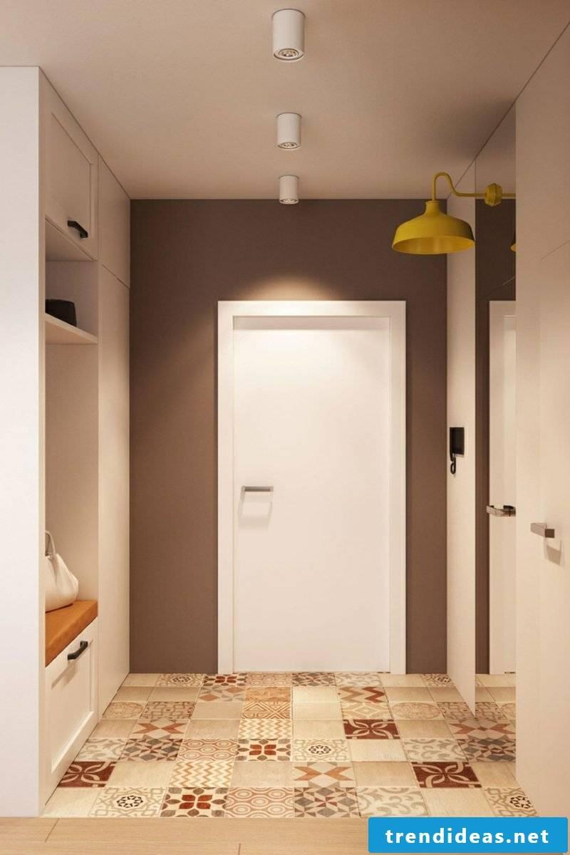Hallway accent wall tiles