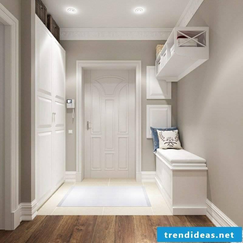 Hallway design white and beige bench