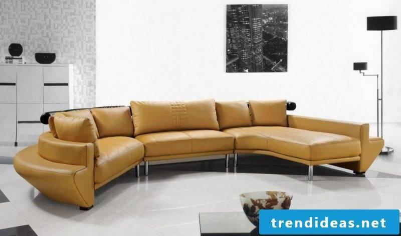 Integrate yellow leather sofa into the bright interior design!