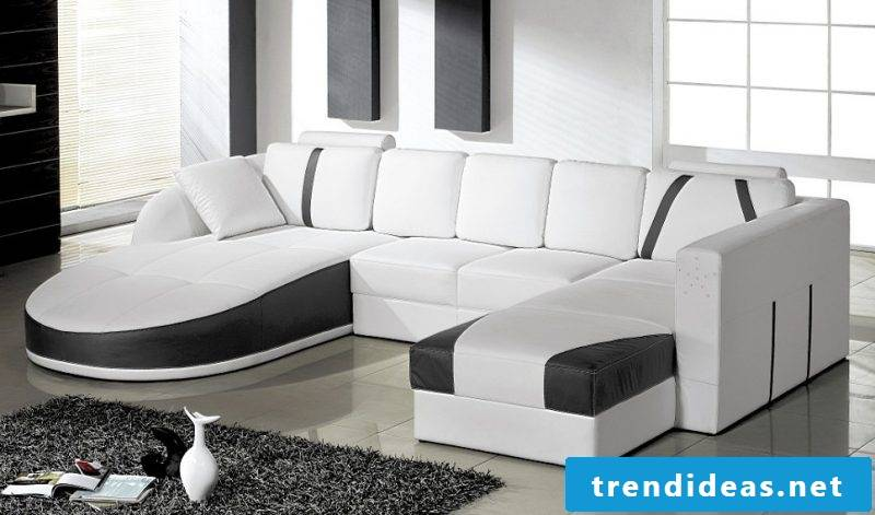 Black and white leather sofa for your apartment!