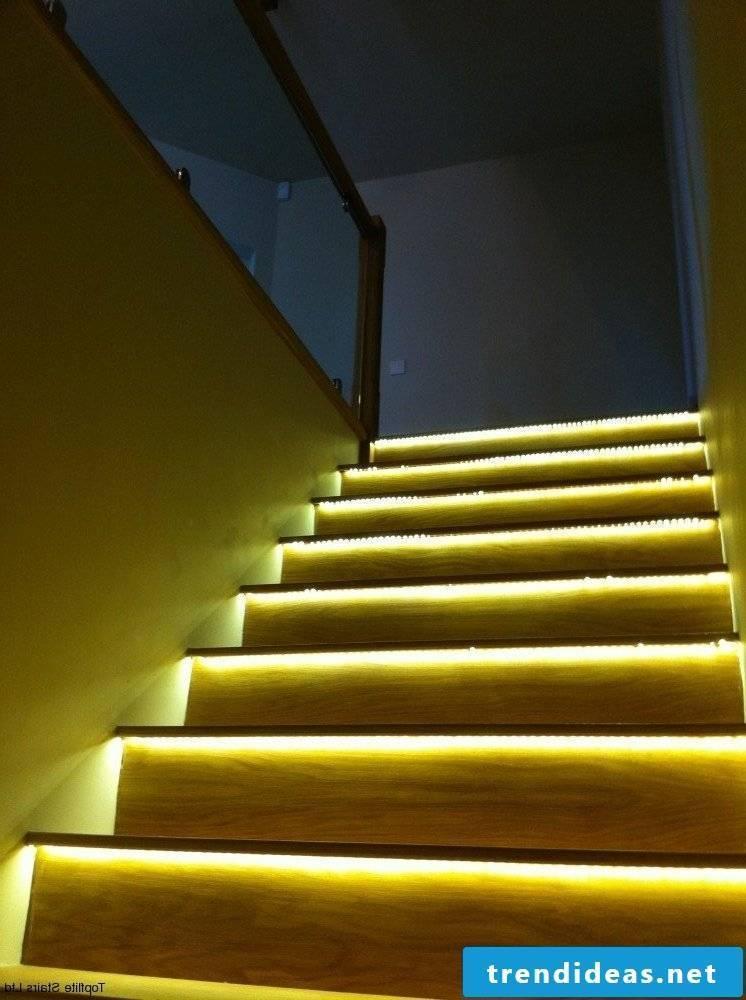 led staircase lighting yellow