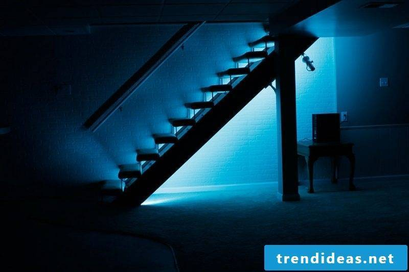 LED stairwell blue