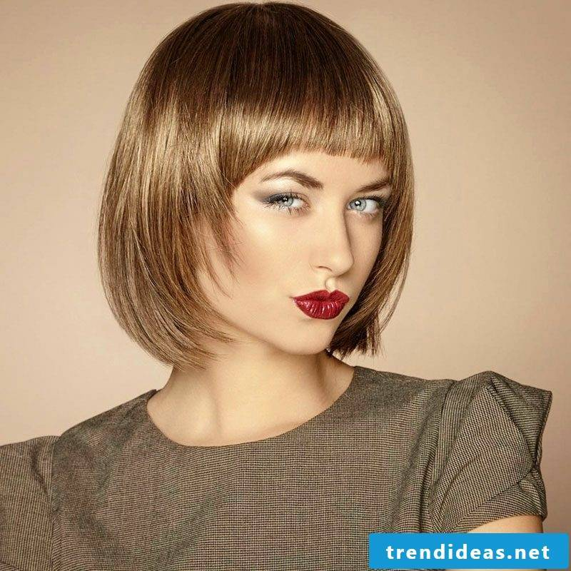 Light brown hair color elegant short hairstyle