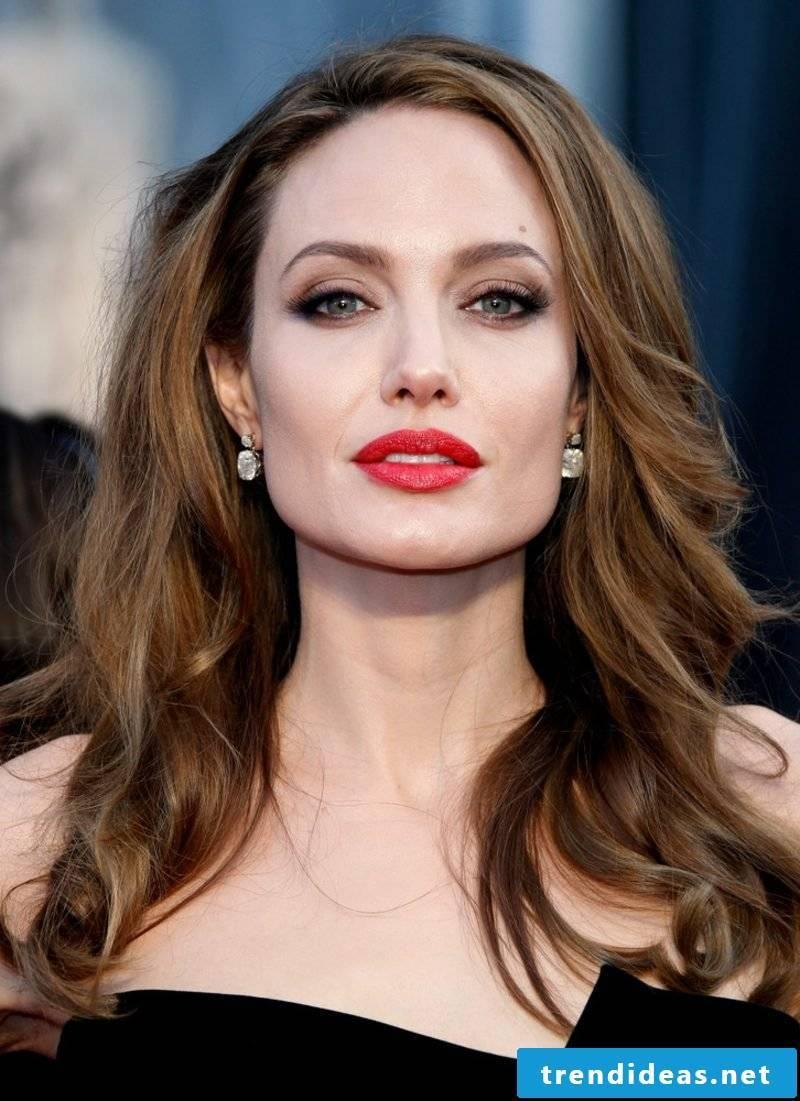 Light brown hair color make-up tips Angelina Jolie