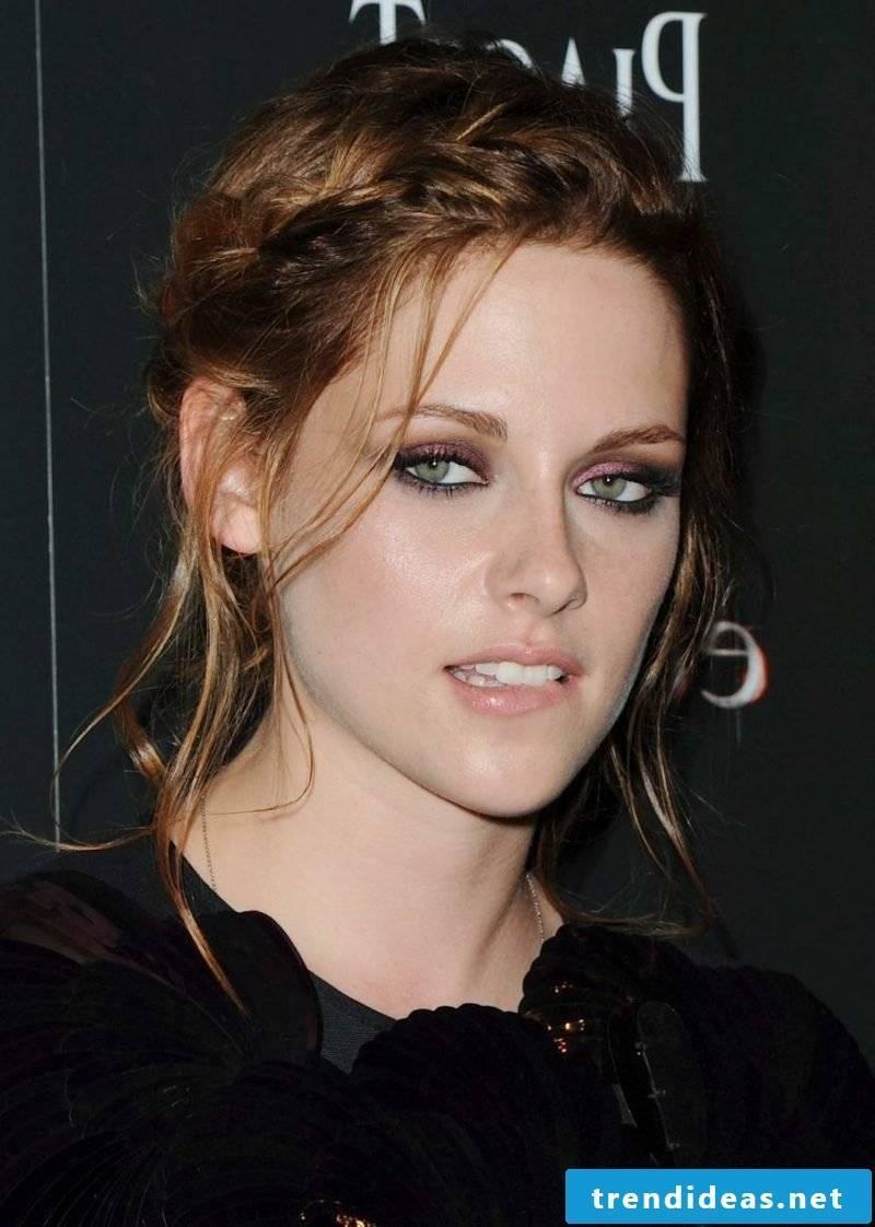 Light brown hair color elegant braiding Kristen Stewart