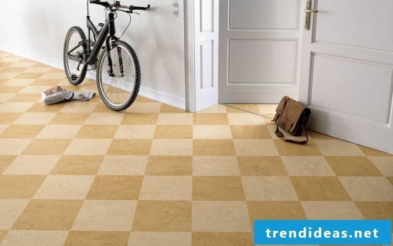 linoleum floor hall beige