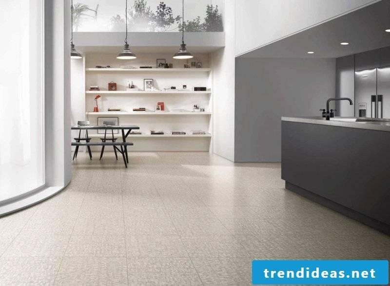 linoleum floor in gray industrial lamps