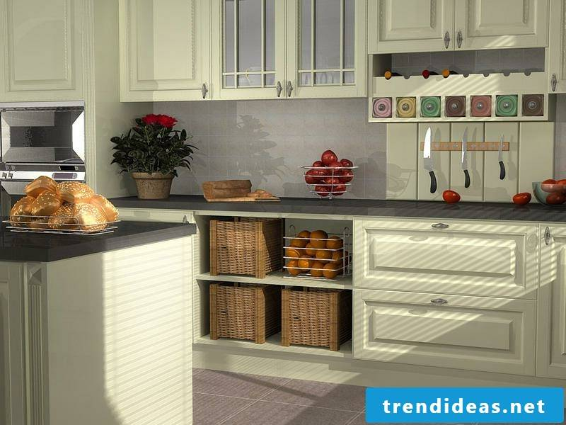 Wooden cupboards in the kitchen