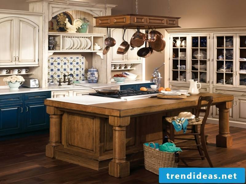 blue accents in the provence kitchen