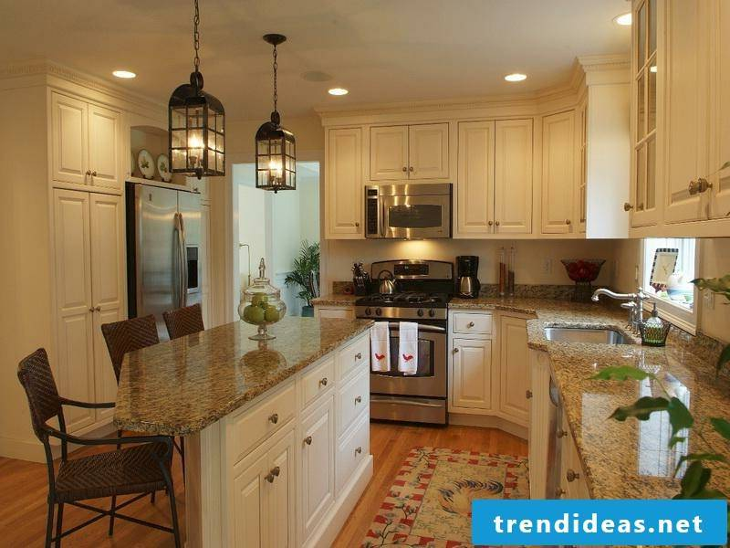 provence kitchen with retro lighting