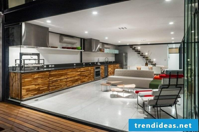 Kitchen / living room furnishing ideas wood and stainless steel