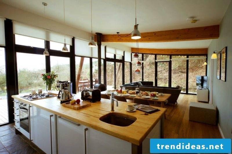 open kitchen living room country style wood countertop