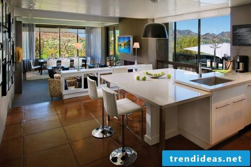 Kitchen with counter open modern decor
