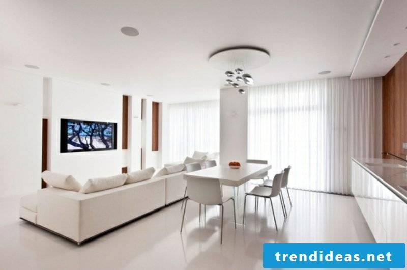 Kitchen-living-room design white puristic modern style