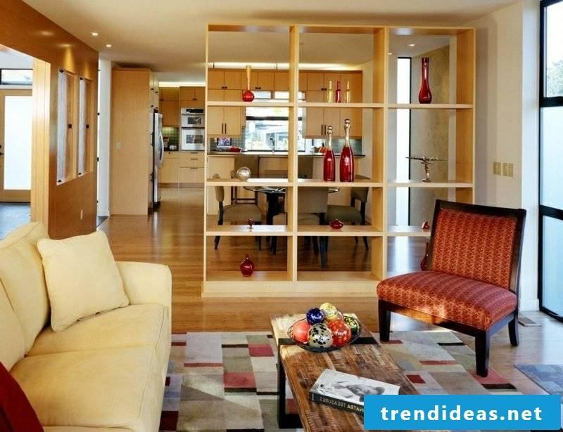 Floor plan kitchen open off the living room separated shelf