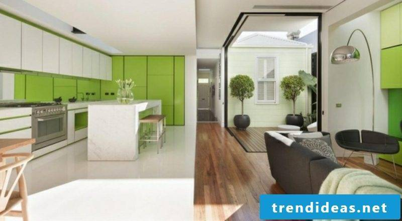 Living room with kitchen white grass green