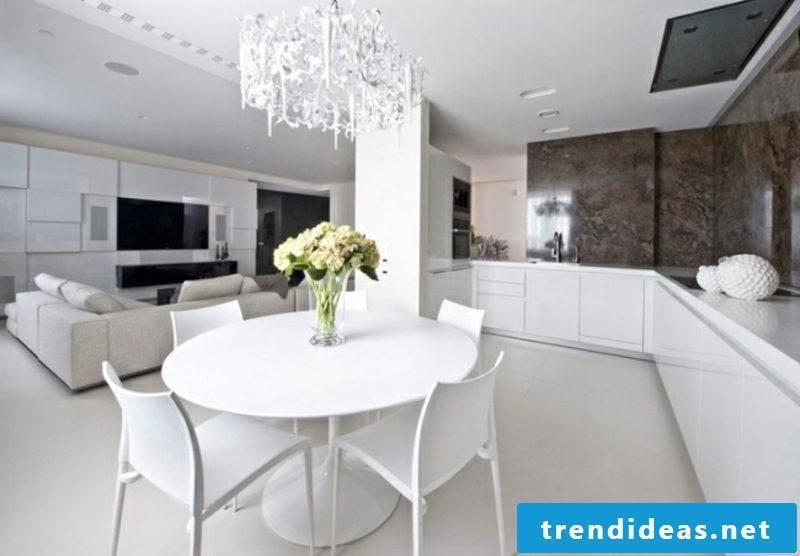 open kitchen with counter white minimalist