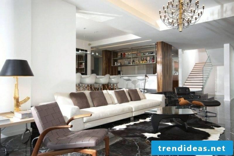 modern kitchen living room marble floor
