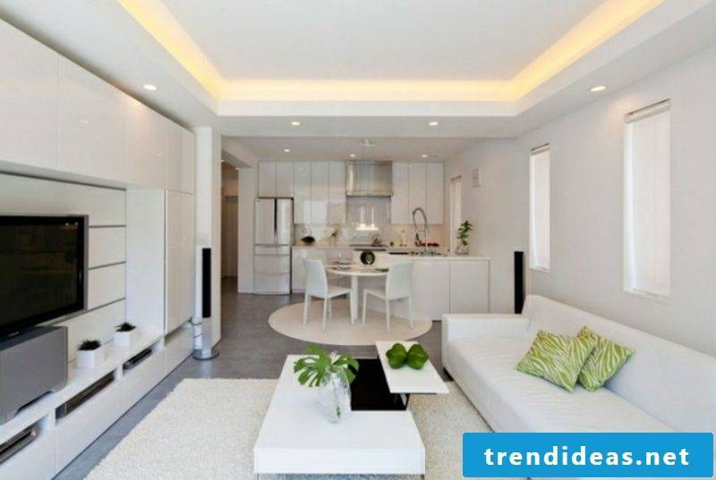 Living room with open kitchen white ceiling lighting
