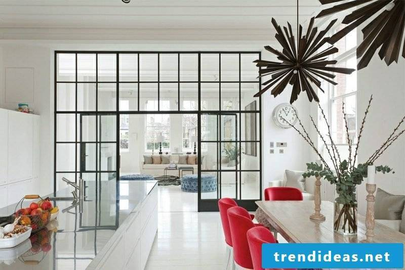 Living ideas kitchen open modern white red accents