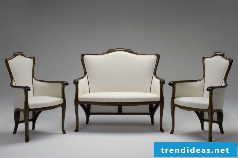 Art Nouveau features sofa chairs