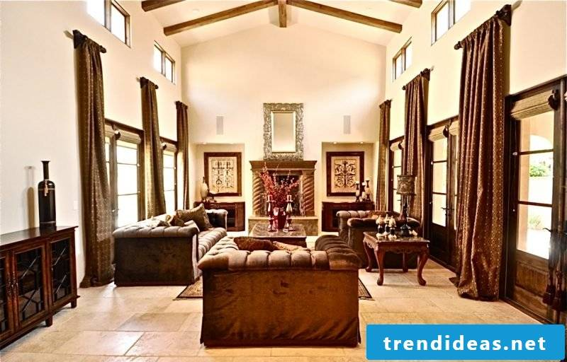 Living room design in colonial style