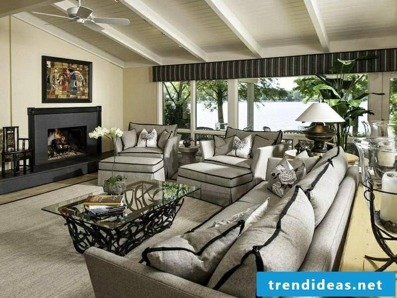 Living room design contrasting colors Black and white elegant country style