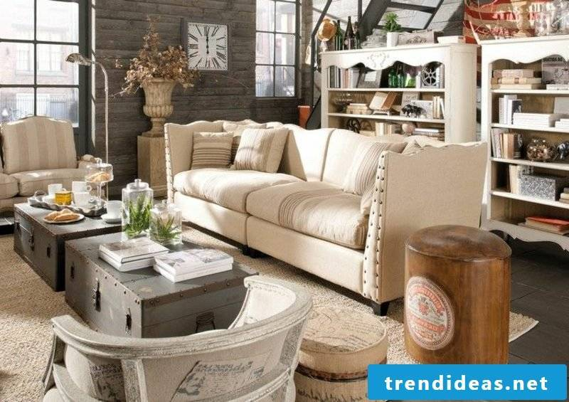 Living room design country style coffee table original two old suitcases