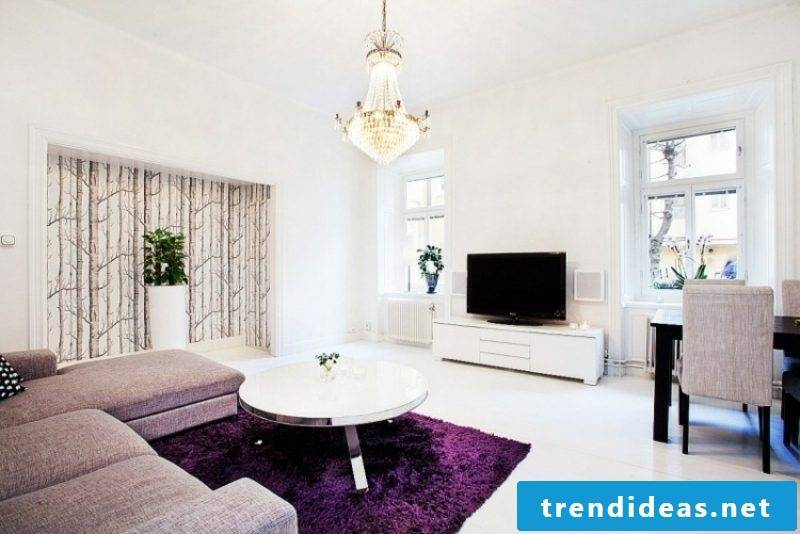 Living room design Scandinavian style color scheme white accents in purple