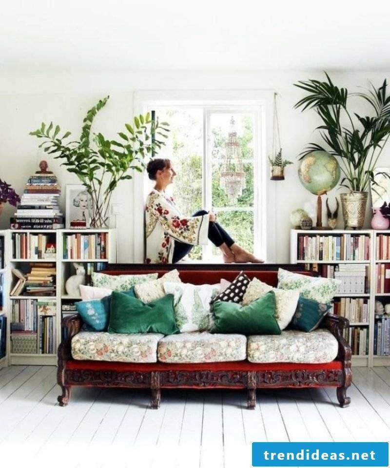 Living room Scandinavian comfortable sofa frame colorful pillows
