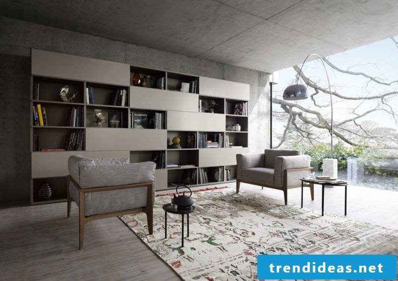 Living room design modern design. Concrete look industrial style