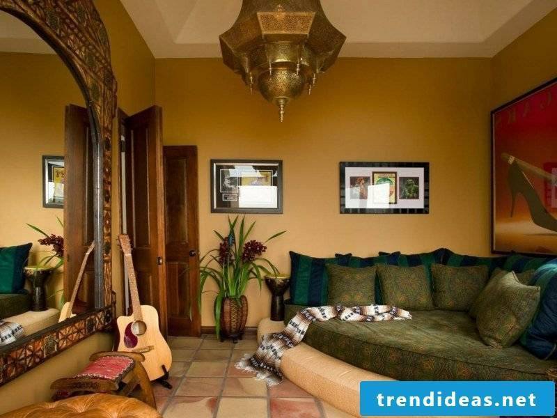 Living room decorate oriental touch Moroccan furnishing style