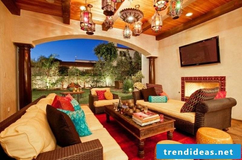 Living Room Moroccan Style Flash Colors Lantern Lights Gorgeous Look
